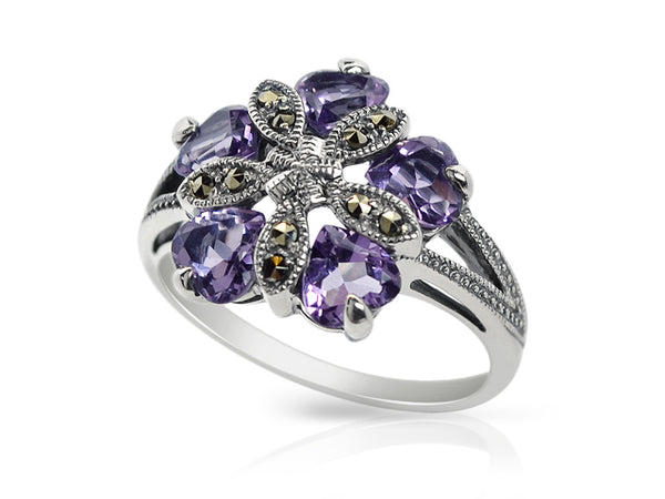 Sterling Silver 1.80ct Amethyst & Marcasite Cocktail Ring Image 2
