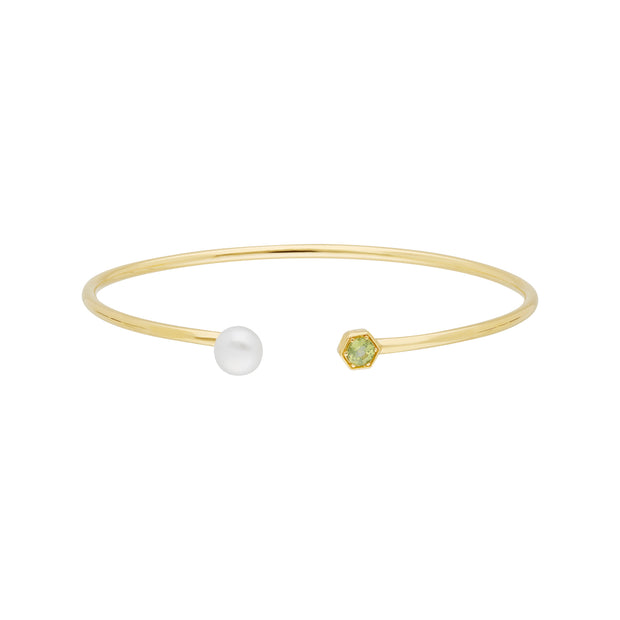 Geometric Pearl & Peridot Open Bangle in Gold Plated Sterling Silver