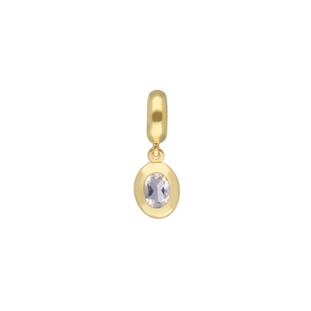 Gold Plated White Topaz Charm
