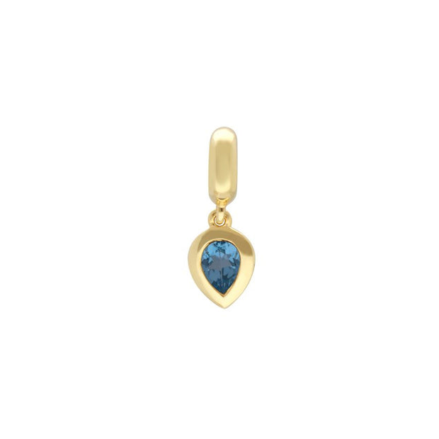 Gold Plated Blue Topaz Charm