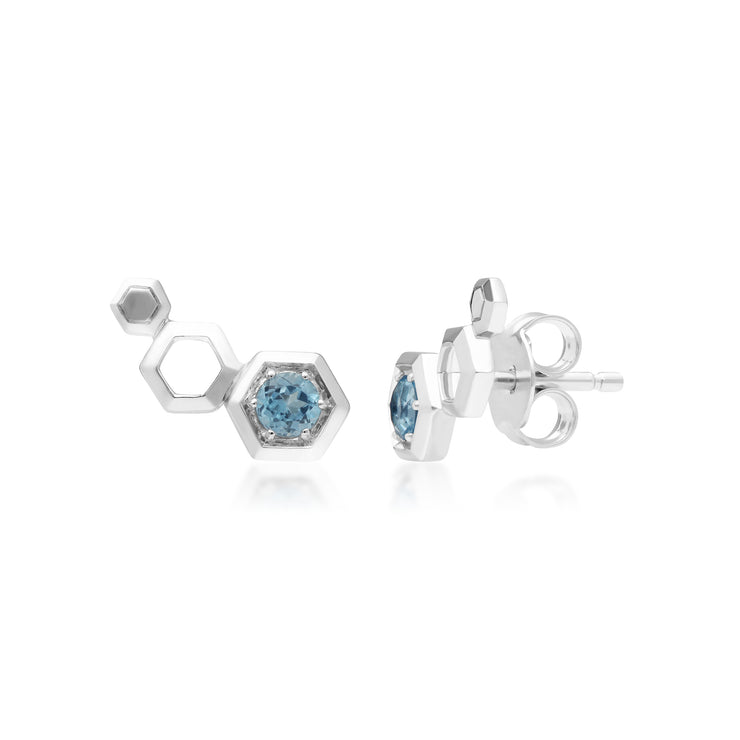 Gemondo Honeycomb Inspired Blue Topaz Sterling Silver Stud Ear Climbers