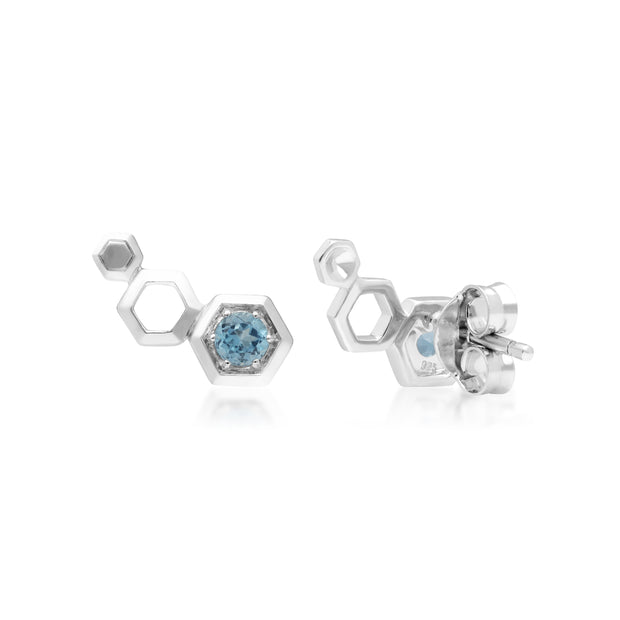 Gemondo Honeycomb Inspired Blue Topaz Sterling Silver Stud Ear Climbers part 2