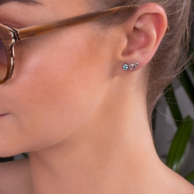 Gemondo Honeycomb Inspired Blue Topaz Sterling Silver Stud Ear Climbers on model