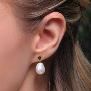 Modern Baroque Pearl & Sapphire Drop Earrings in Gold Plated Sterling Silver