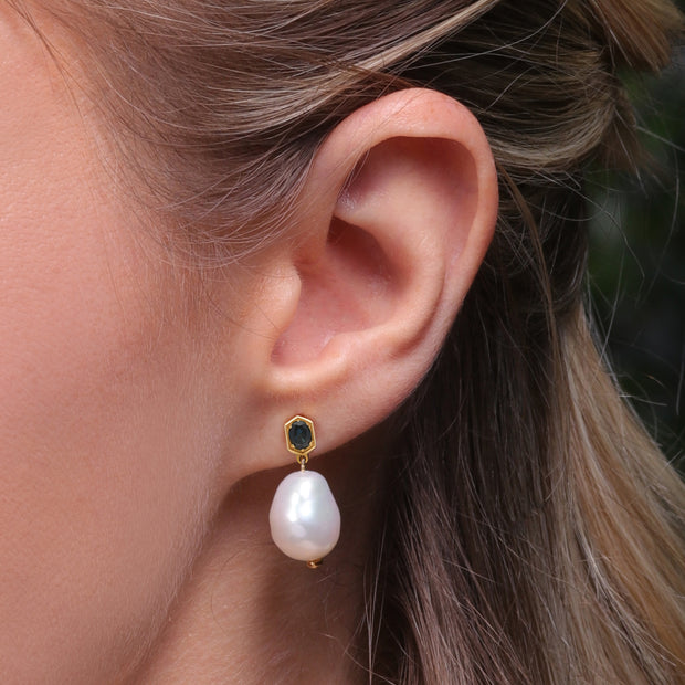 Modern Baroque Pearl & Sapphire Drop Earrings in Gold Plated Sterling Silver on Model
