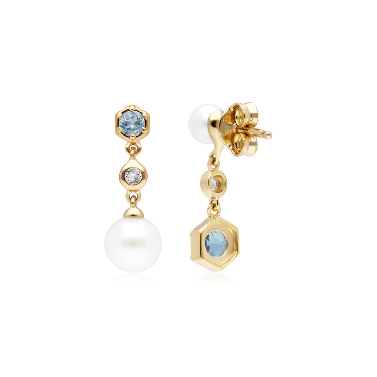 Modern Pearl, White & Blue Topaz Mismatched Drop Earrings in Gold Plated Sterling Silver