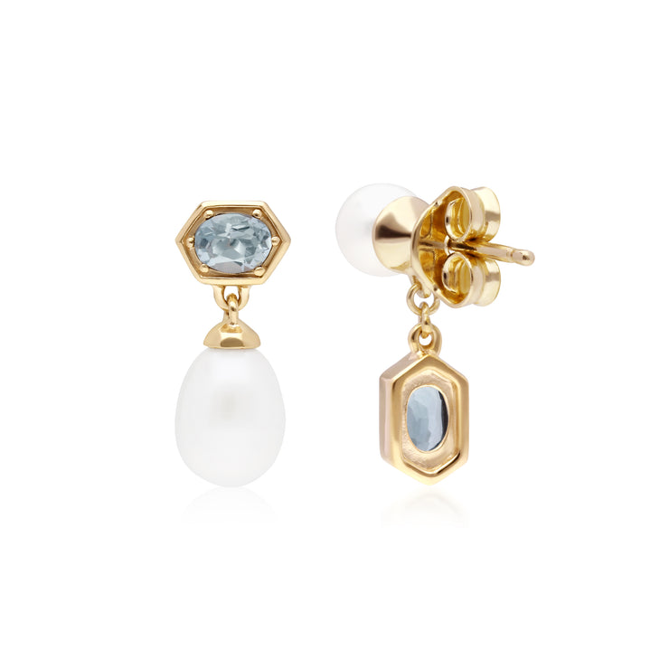 Modern Pearl & Aquamarine Mismatched Drop Earrings in Gold Plated Sterling Silver