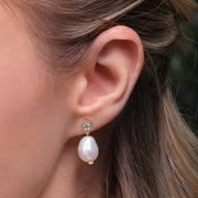 Modern Baroque Pearl & Topaz Drop Earrings in Rose Gold Plated Sterling Silver