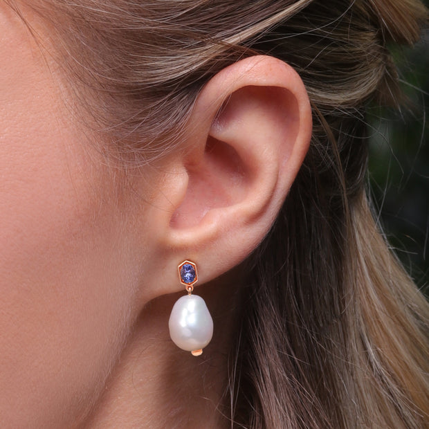 Modern Baroque Pearl & Tanzanite Drop Earrings in Rose Gold Plated Sterling Silver