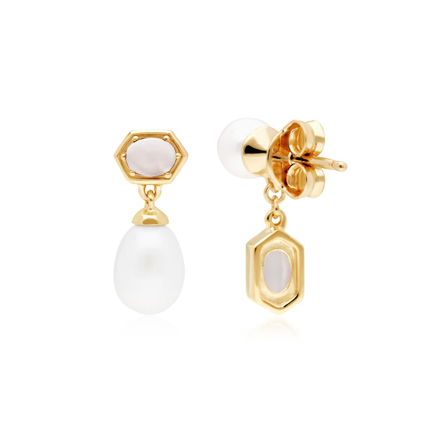 Modern Pearl & Moonstone Pendant & Earring Set in Gold Plated Sterling Silver