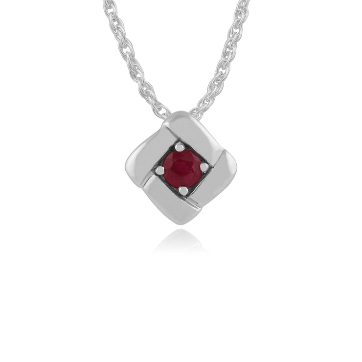 Ruby square crossover pendant in sterling silver