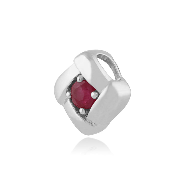 Ruby square crossover pendant in sterling silver without chain