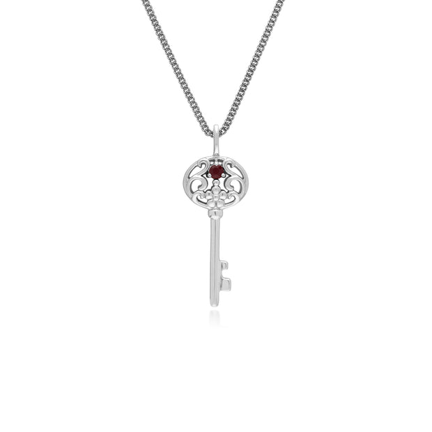 Ruby Big Key Charm in 925 Sterling Silver