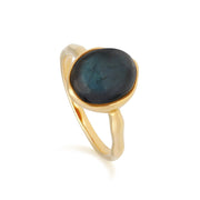 Irregular B Gem Labradorite Ring in Yellow Gold Plated Sterling Silver