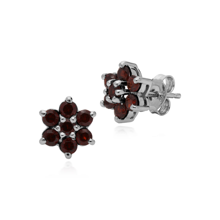 Gemondo Sterling Silver Mozambique Garnet Floral Cluster Earrings