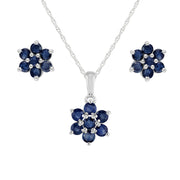 Floral Sapphire Cluster Stud Earrings & Pendant Set Image 1