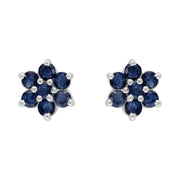 Floral Sapphire Cluster Stud Earrings & Pendant Set Image 2
