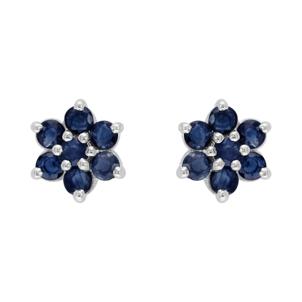 Floral Round Sapphire & Diamond Cluster Stud Earrings in 925 Sterling Silver