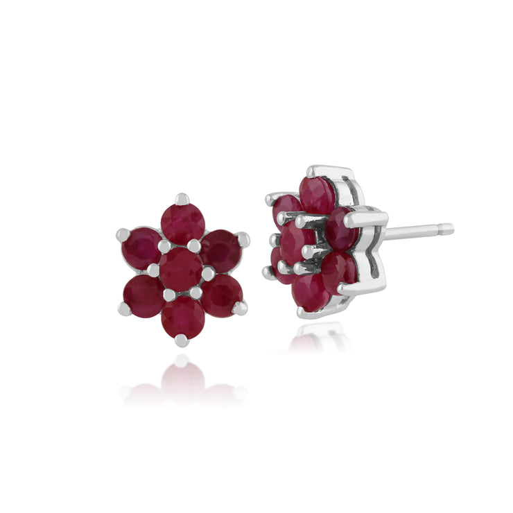 Floral Round Ruby Cluster Stud Earrings in 925 Sterling Silver