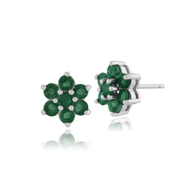 Floral Round Emerald Cluster Stud Earrings in 925 Sterling Silver