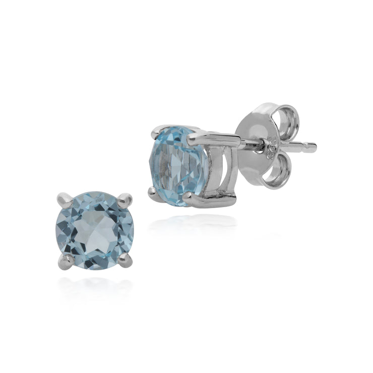 Essential Round Blue Topaz Claw Set Stud Earrings in 925 Sterling Silver