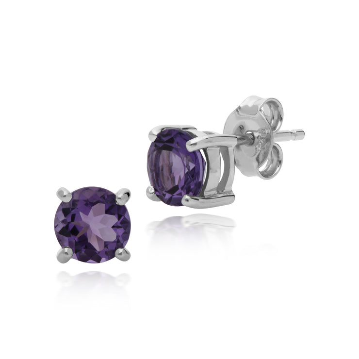 Essential Round Amethyst Claw Set Stud Earrings in 925 Sterling Silver