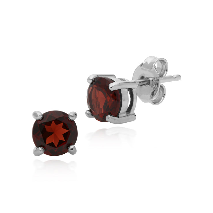 Essential Round Garnet Claw Set Stud Earrings in 925 Sterling Silver