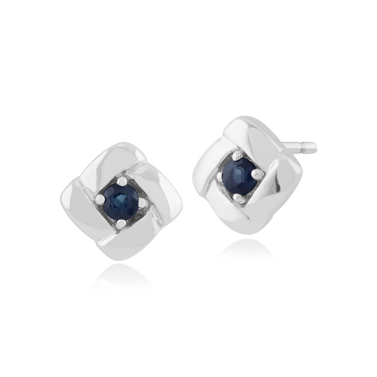 Classic Round Sapphire Square Crossover Stud Earrings in 925 Sterling Silver