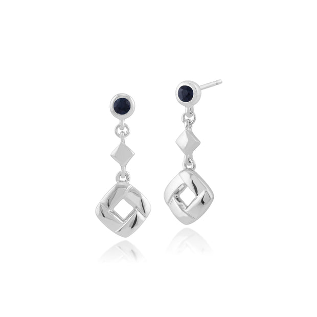 Classic Round Sapphire Square Crossover Drop Earrings in 925 Sterling Silver
