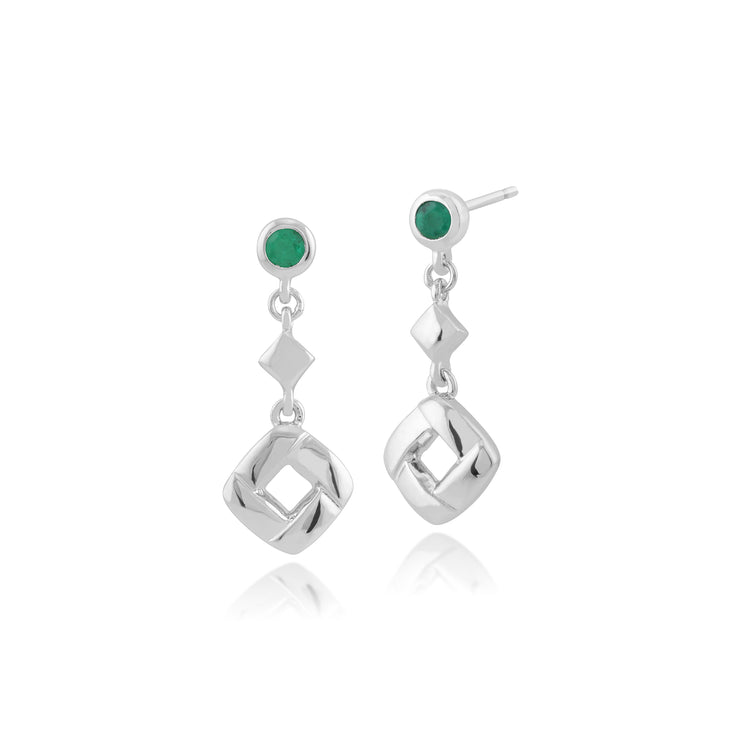 Classic Round Emerald Square Crossover Drop Earrings in 925 Sterling Silver