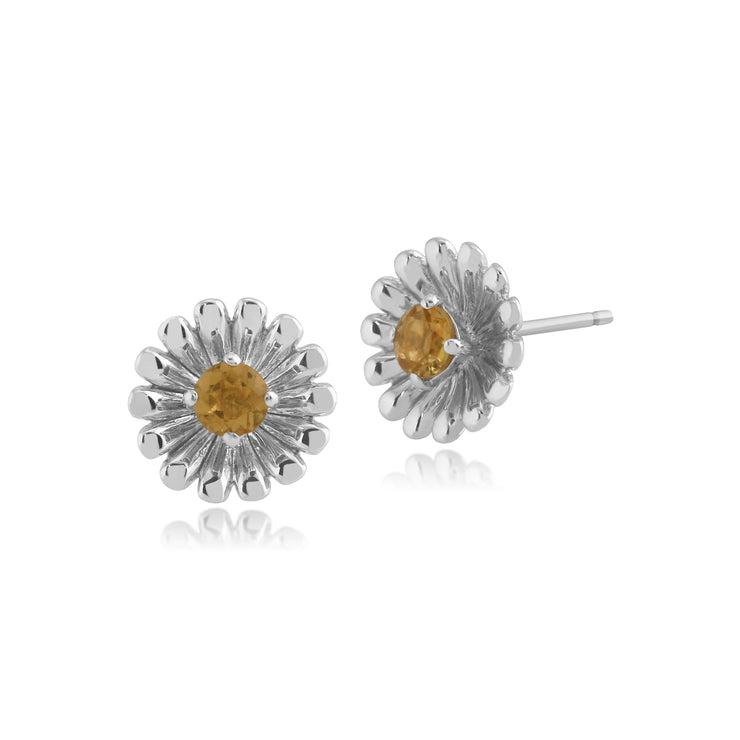 Floral Round Citrine Daisy Flower Stud Earrings in 925 Sterling Silver