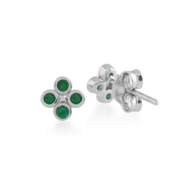 Floral Round Emerald Bezel Set Clover Stud Earrings in 925 Sterling Silver