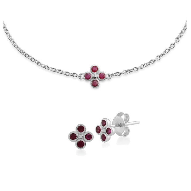 Floral Round Ruby Clover Stud Earrings & Bracelet Set in 925 Sterling Silver