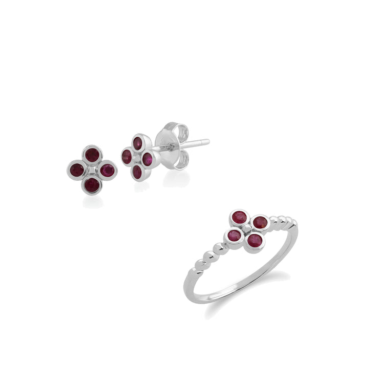 Floral Round Ruby Clover Stud Earrings & Ring Set in 925 Sterling Silver