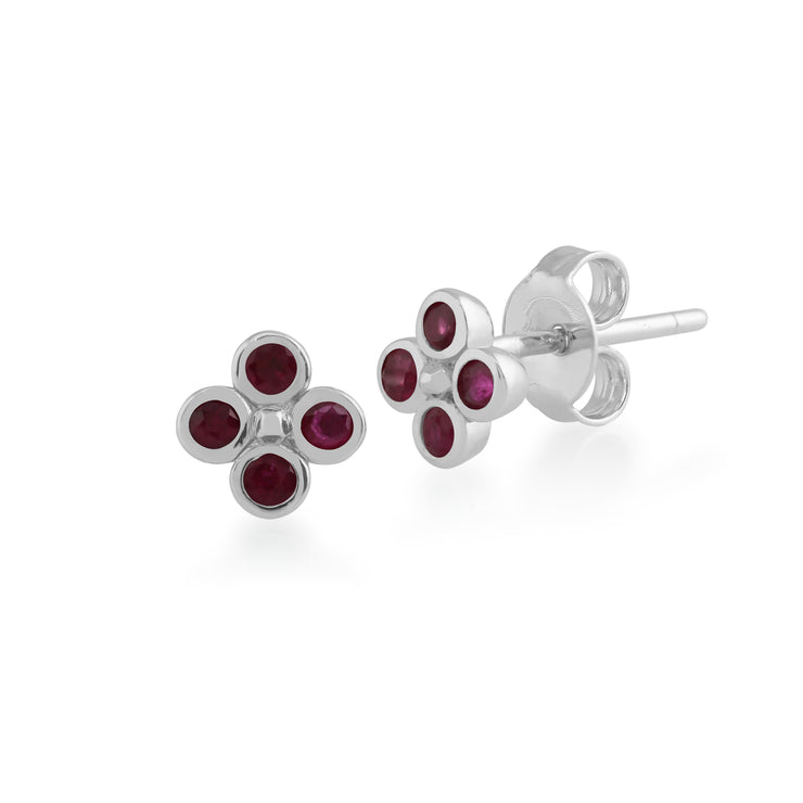 Floral Round Ruby Bezel Set Clover Stud Earrings in 925 Sterling Silver