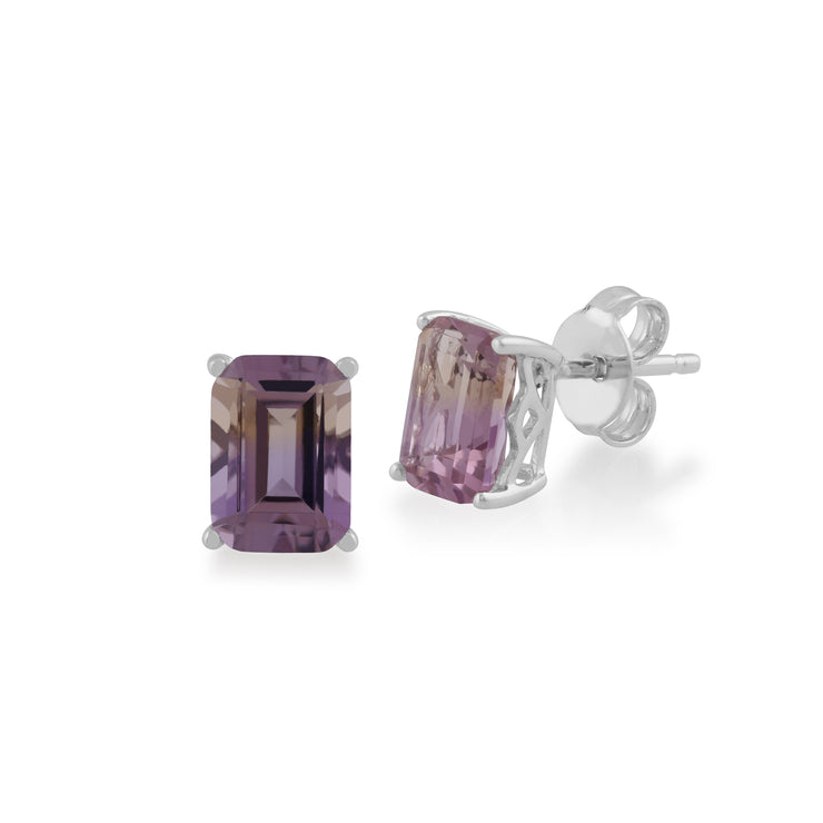 Classic Octagon Ametrine Claw Set Stud Earrings in 925 Sterling Silver