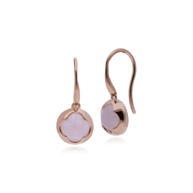 Geometric Sugarloaf Rose Quartz Circular Prism Drop Earrings in Rose Gold Plated 925 Sterling Silver