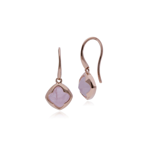 Rose Gold Plated Cushion Rose Quartz Drop Earrings Image 1