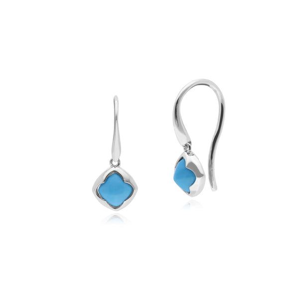 Silver Turquoise Drop Earrings Image 1