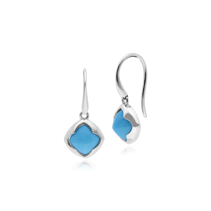 Geometric Sugarloaf Turquoise Circular Prism Drop Earrings in 925 Sterling Silver