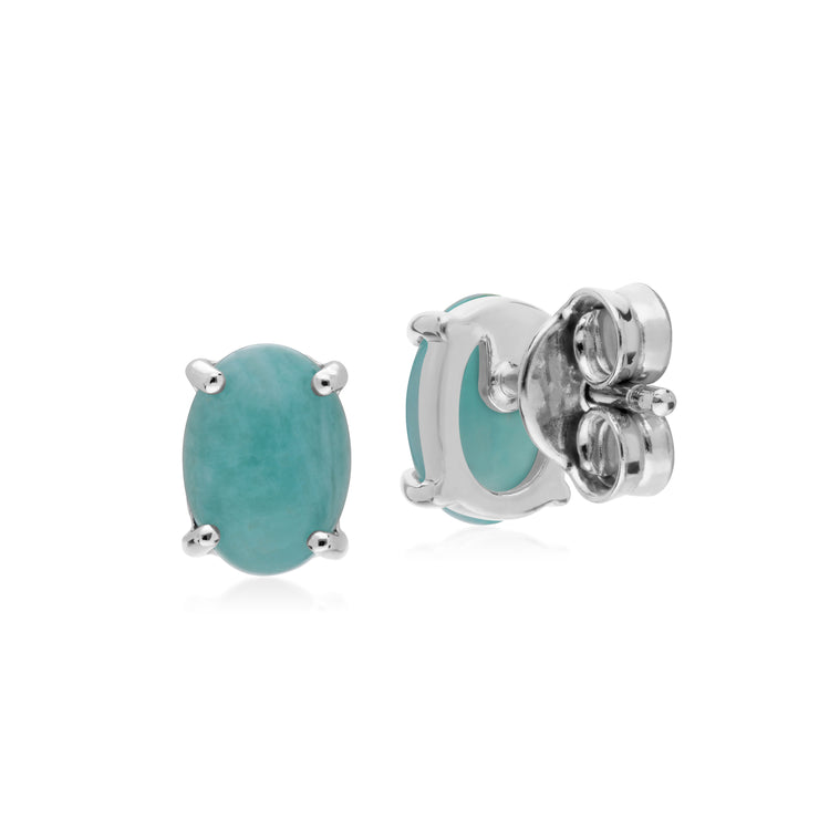 Gemondo Sterling Silver Amazonite Single Stone Oval Stud Earrings