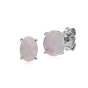 Gemondo Sterling Silver Rainbow Moonstone Oval Stud Earrings