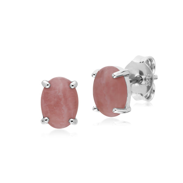 Classic Oval Rhodochrosite Stud Earrings in 925 Sterling Silver