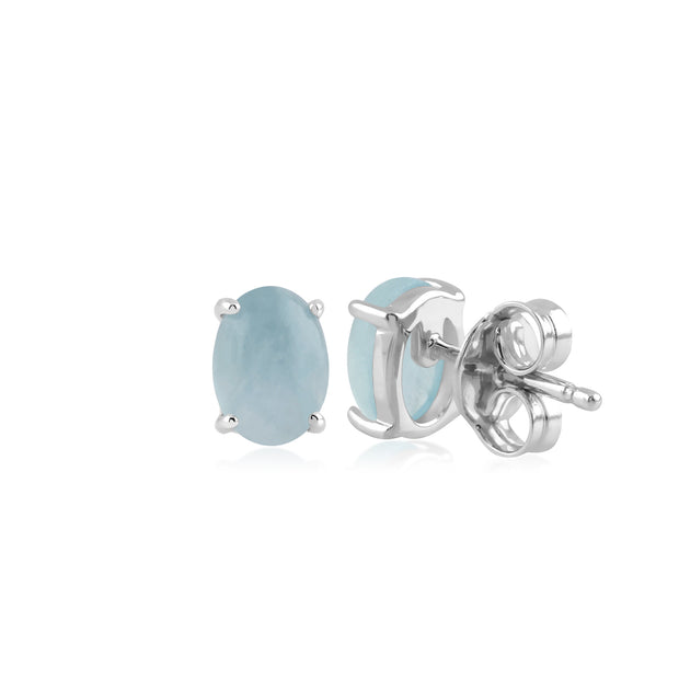 Classic Oval Milky Aquamarine Stud Earring in 925 Sterling Silver