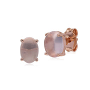 Classic Oval Rose Quartz Stud Earrings in Rose Gold Plated 925 Sterling Silver