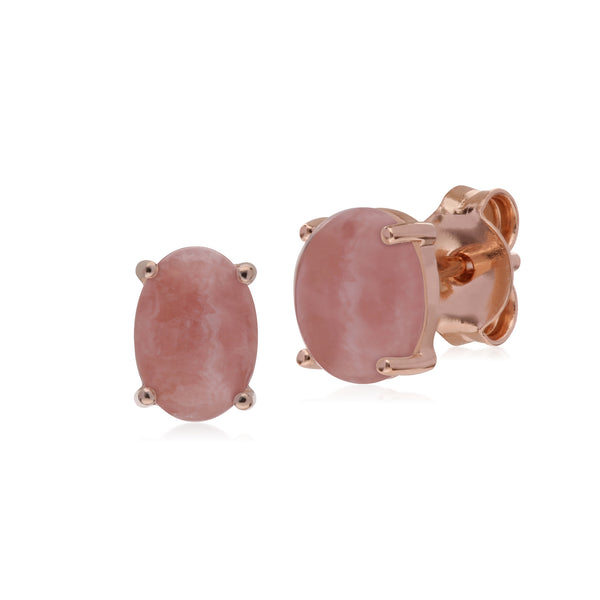 Classic Oval Rhodochrosite Stud Earrings in Rose Gold Plated 925 Sterling Silver