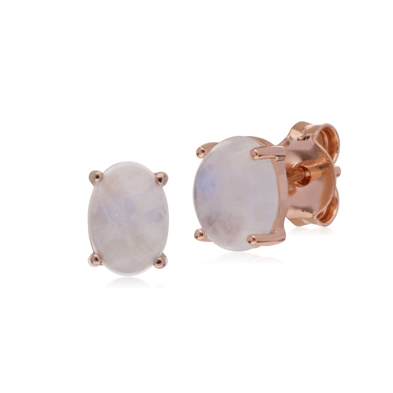 Classic Oval Rainbow Moonstone Stud Earrings in Rose Gold Plated 925 Sterling Silver