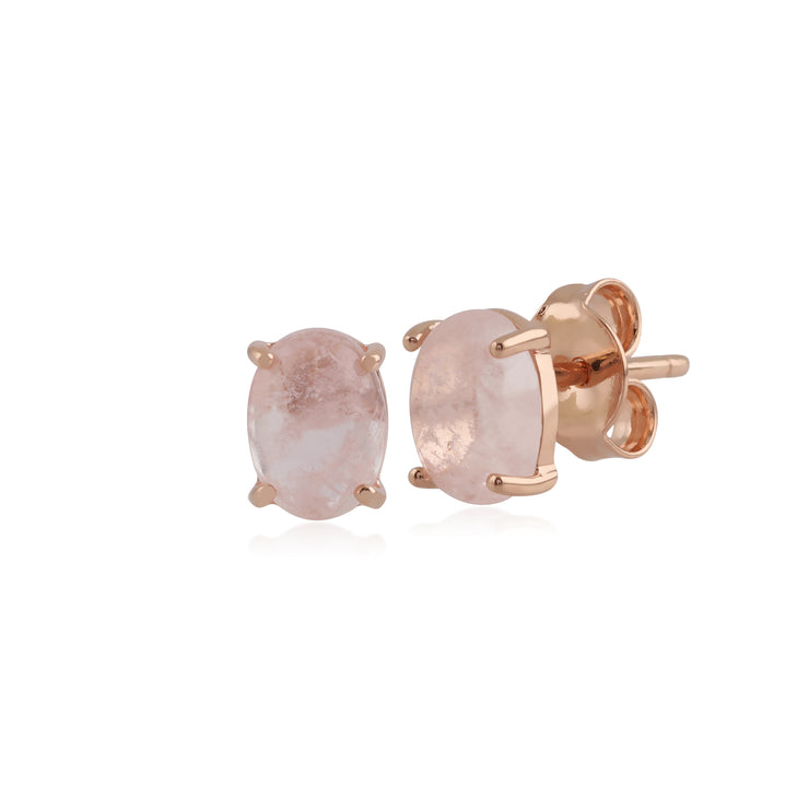 Classic Oval Milky Morganite Stud Earring in Rose Gold Plated 925 Sterling Silver