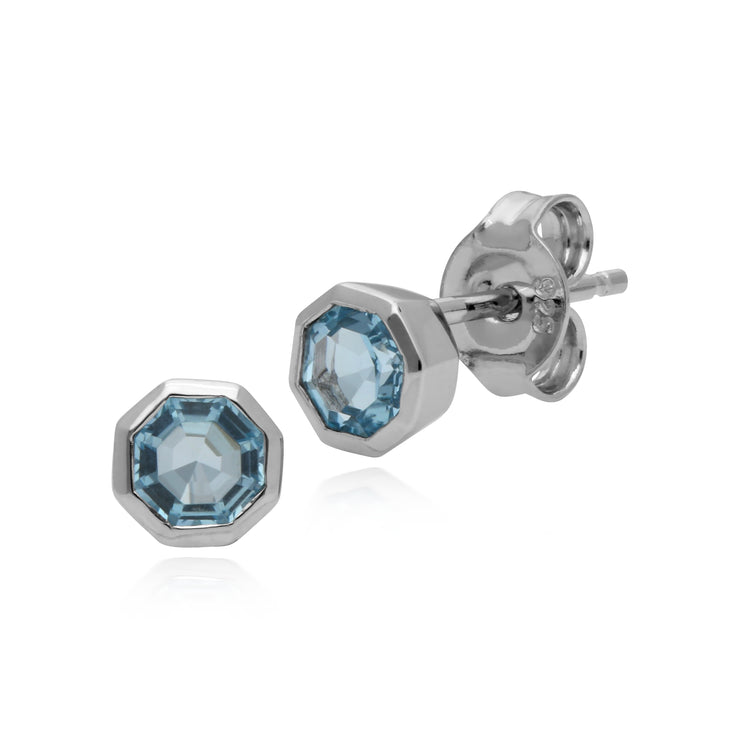 Geometric Octagon Blue Topaz Silver Stud Earrings