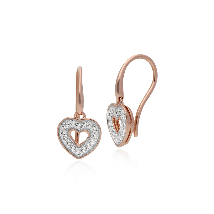 Classic Round Diamond Heart Drop Earrings in Rose Gold Plated 925 Sterling Silver